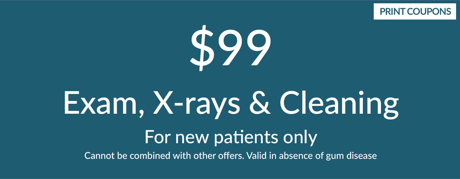 $99 Exam, X-Rays, & Cleaning (For new patients only. Cannot be combined with other offers.